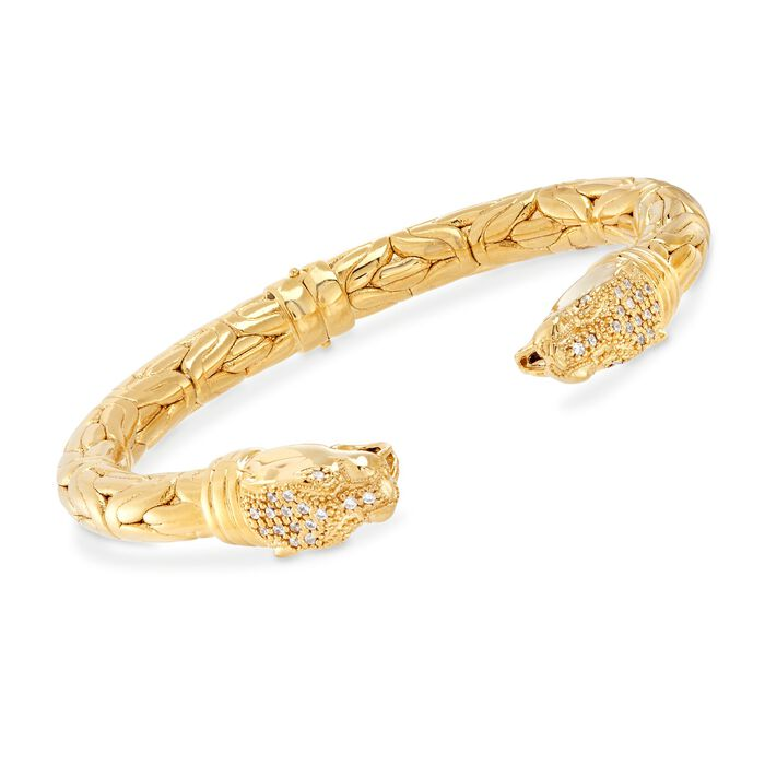 Italian .50 ct. t.w. CZ Double Panther Head Byzantine Cuff Bracelet in 18kt Gold Over Sterling, , default