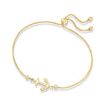14kt Yellow Gold Nautical Anchor Bolo Bracelet, , default