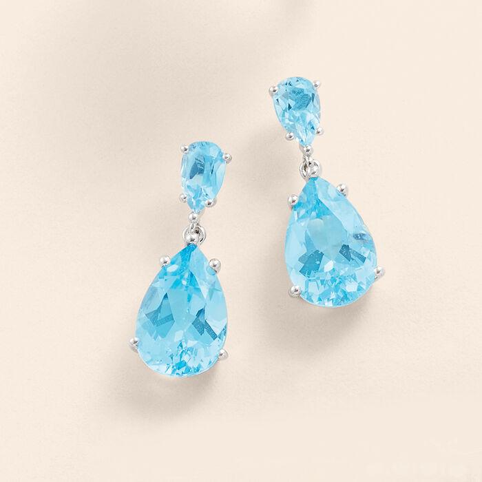 14.00 ct. t.w. Sky Blue Topaz Drop Earrings in Sterling Silver