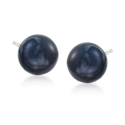 11-12mm Peacock Black Cultured Pearl Stud Earrings in 14kt White Gold