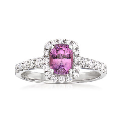 1.20 Carat Pink Sapphire and .48 ct. t.w. Diamond Ring in 18kt White Gold