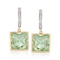 14.00 ct. t.w. Green Amethyst and .18 ct. t.w. Diamond Drop Earrings in 14kt Yellow Gold , , default