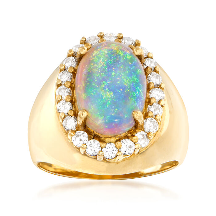 C. 1980 Vintage Opal and .56 ct. t.w. Diamond Ring in 18kt Yellow Gold. Size 6.5