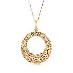 "14kt Yellow Gold Byzantine Open-Space Circle Pendant Necklace. 18"", , default"