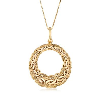 14kt Yellow Gold Byzantine Open-Space Circle Pendant Necklace, , default