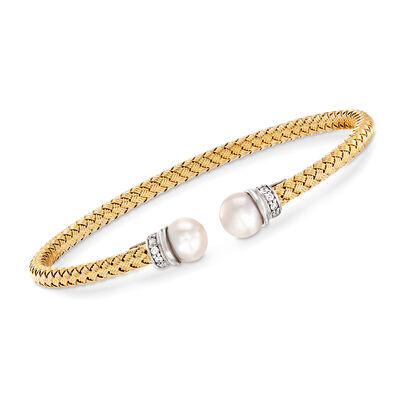 Italian Cultured Pearl and .16 ct. t.w. CZ Cuff Bracelet in Two-Tone Sterling Silver, , default