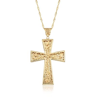 Italian 18kt Yellow Gold Brushed and Polished Floral Filigree Cross Pendant Necklace