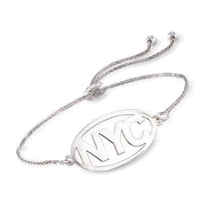 Sterling Silver Personalized Destination Bolo Bracelet, , default