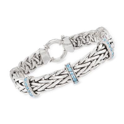 2.00 ct. t.w. Sky Blue Topaz Wheat-Link Bracelet in Sterling Silver