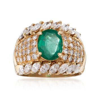 C. 1980 Vintage 1.60 Carat Emerald and 2.45 ct. t.w. Diamond Ring in 18kt Yellow Gold. Size 7.25, , default