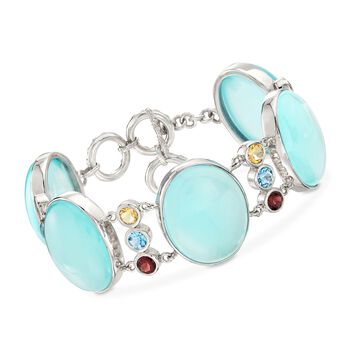 """Aqua Chalcedony and 5.60 ct. t.w. Multi-Stone Bracelet in Sterling Silver. 7.5"""", , default"""