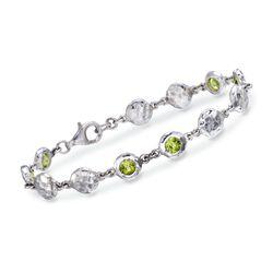 "Zina Sterling Silver ""Ripple"" 2.75 ct. t.w. Peridot Station Bracelet, , default"