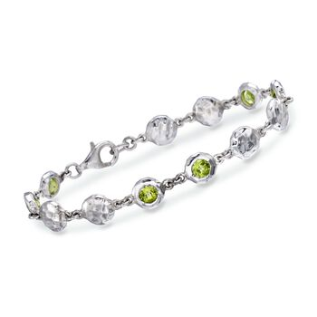 "Zina Sterling Silver ""Ripple"" 2.75 ct. t.w. Peridot Station Bracelet. 7"", , default"