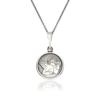 "14kt White Gold Angel Pendant Necklace. 18"", , default"