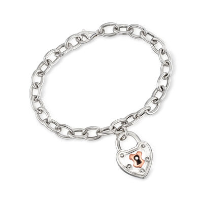 Italian Heart Lock Charm Bracelet in Two-Tone Sterling Silver, , default