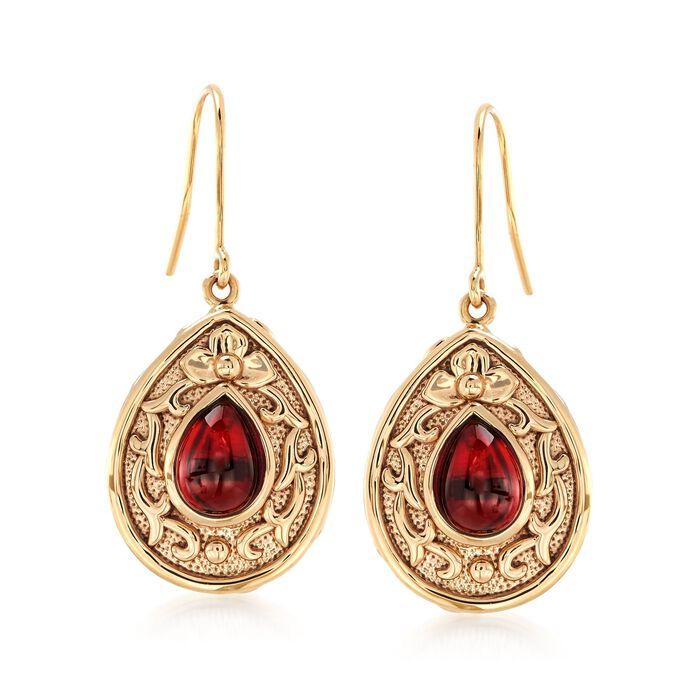 4.30 ct. t.w. Garnet Floral Scroll Drop Earrings in 14kt Yellow Gold