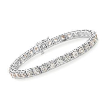 "10.85 ct. t.w. Diamond Tennis Bracelet in 14kt White Gold. 7"", , default"