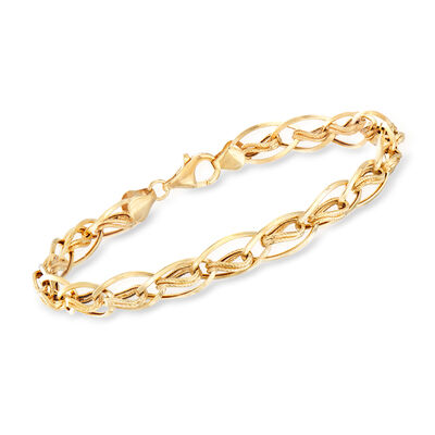 14kt Yellow Gold Oval and Double-Twist Link Bracelet