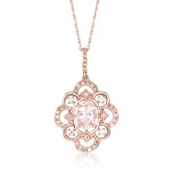 ".70 Carat Morganite and .24 ct. t.w. Diamond Pendant Necklace in 14kt Rose Gold. 20"", , default"