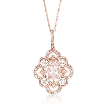 """.70 Carat Morganite and .24 ct. t.w. Diamond Pendant Necklace in 14kt Rose Gold. 20"""", , default"""