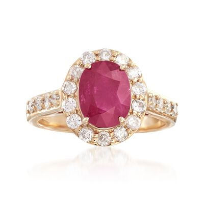 2.50 Carat Ruby and .44 ct. t.w. Diamond Halo Ring in 14kt Yellow Gold, , default