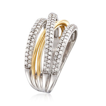 .63 ct. t.w. Diamond Highway Ring in Sterling Silver with 14kt Yellow Gold. Size 6