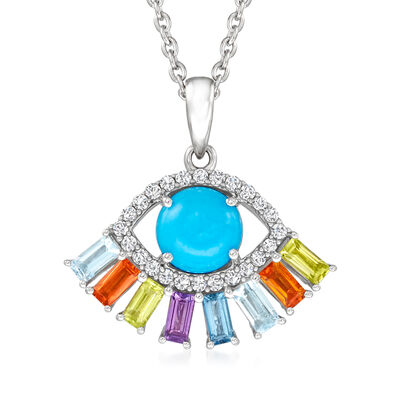 Turquoise and 1.20 ct. t.w. Multi-Gemstone Evil Eye Pendant Necklace in Sterling Silver