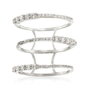 .65 ct. t.w. CZ Open Multi-Row Ring in Sterling Silver. Size 5, , default