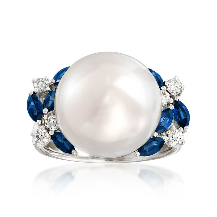13-13.5mm Cultured Pearl, .70 ct. t.w. Sapphire and .23 ct. t.w. Diamond Ring in 14kt White Gold. Size 7