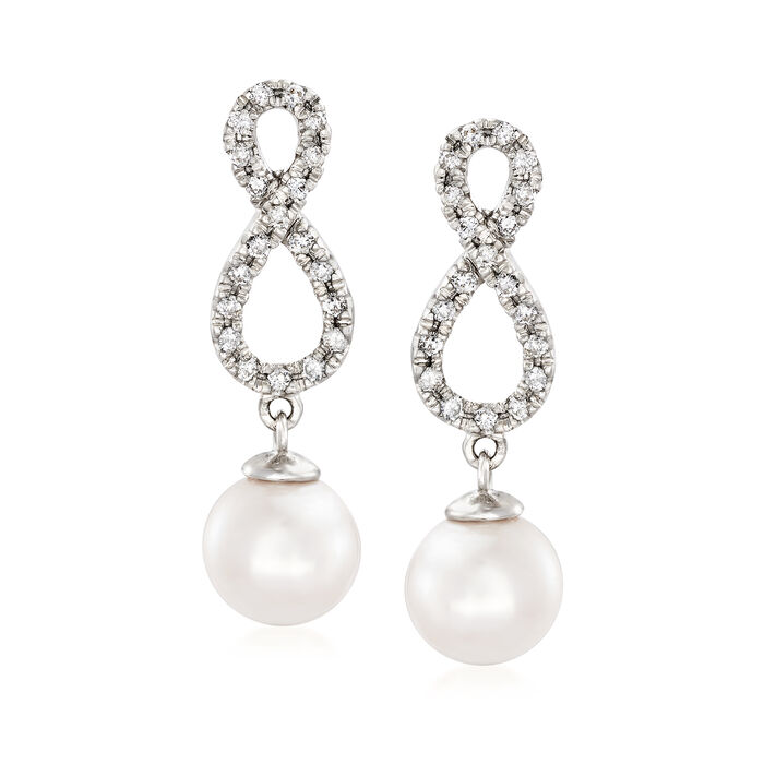 7-8mm Cultured Akoya Pearl and .40 ct. t.w. Diamond Infinity Symbol Drop Earrings in 14kt White Gold