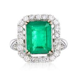 3.60 Carat Emerald and .87 ct. t.w. Diamond Ring in 18kt White Gold, , default