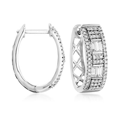 .50 ct. t.w. Diamond Oval Hoop Earrings in 14kt White Gold