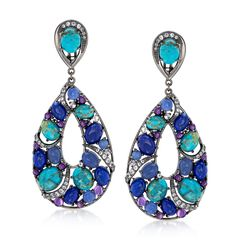 Turquoise and Lapis Drop Earrings With 5.00 ct. t.w. Multi-Stones in Sterling Silver, , default