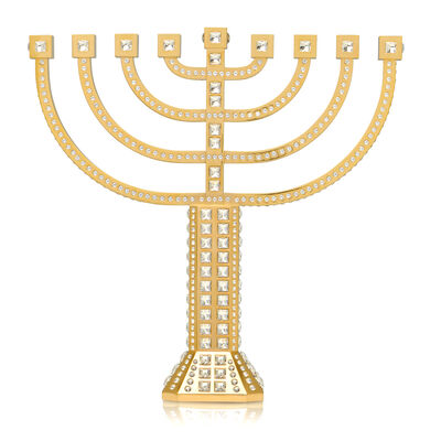 Crystamas Swarovski Crystal 24kt Gold-Plated Menorah