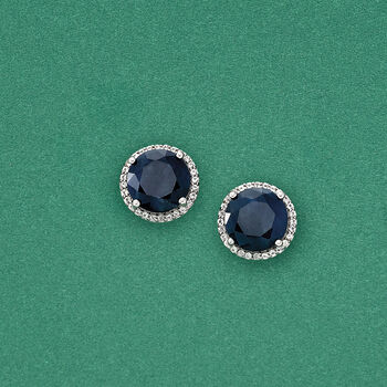 6.50 ct. t.w. Opaque Blue Sapphire and .20 ct. t.w. White Topaz Stud Earrings in Sterling Silver