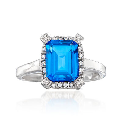 2.48 ct. t.w. Blue and White Swarovski Topaz Ring in Sterling Silver