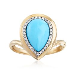 Turquoise and .20 ct. t.w. Diamond Ring in 14kt Yellow Gold, , default