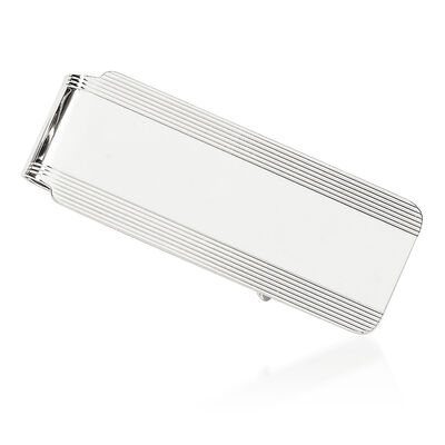 14kt White Gold Polished Engravable Money Clip, , default