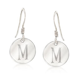 Italian Sterling Silver Single Initial Disc Drop Earrings, , default
