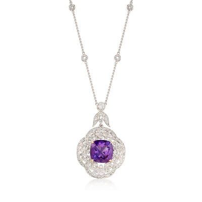 C. 2000 Vintage 4.90 Carat Amethyst and 1.75 ct. t.w. Diamond Floral Necklace in 14kt White Gold, , default