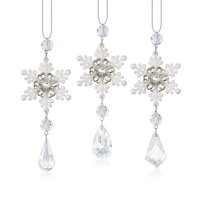 Kurt Adler Snowflake Drop Ornaments, , default