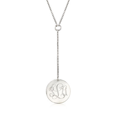 Italian Sterling Silver Personalized Disc Necklace, , default