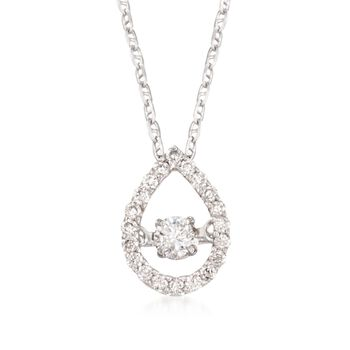 """.30 ct. t.w. Floating Diamond Pear-Shaped Halo Pendant Necklace in 14kt White Gold. 18"""", , default"""