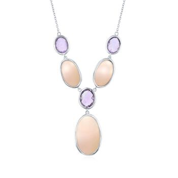 "Pink Mother-Of-Pearl and 5.30 ct. t.w. Amethyst Y-Necklace in Sterling Silver. 16"", , default"
