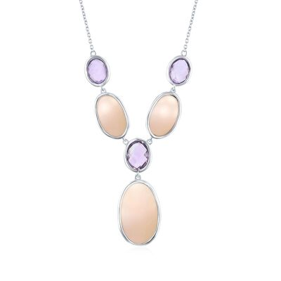 Pink Mother-Of-Pearl and 5.30 ct. t.w. Amethyst Y-Necklace in Sterling Silver, , default