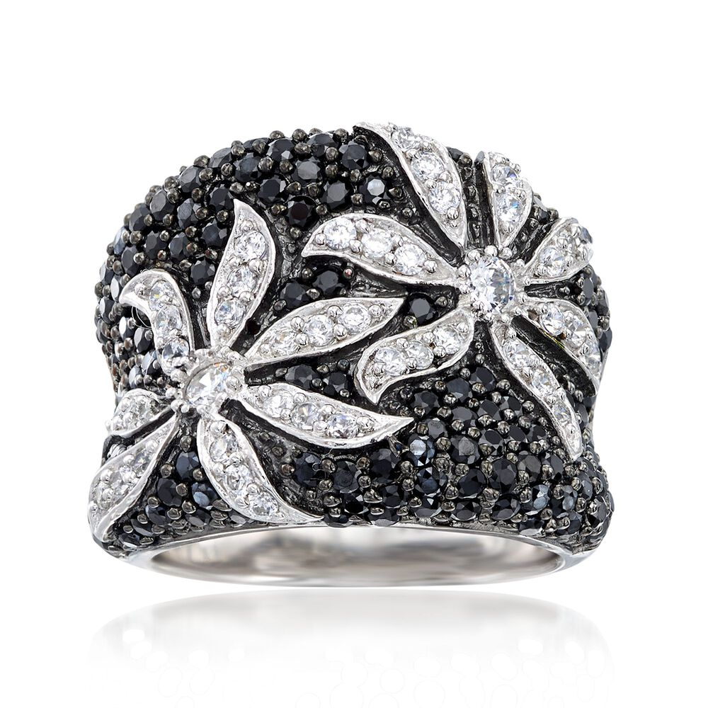 100e9bd41 1.75 ct. t.w. Black and White CZ Flower Ring in Sterling Silver ...