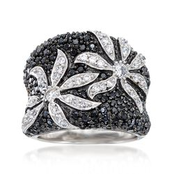 1.75 ct. t.w. Black and White CZ Flower Ring in Sterling Silver , , default
