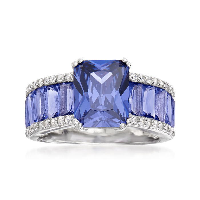 6.75 ct. t.w. Simulated Tanzanite and .20 ct. t.w. CZ Ring in Sterling Silver