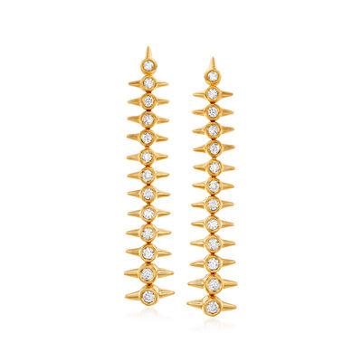 .50 ct. t.w. Diamond Spike Graduated Drop Earrings in 18kt Gold Over Sterling