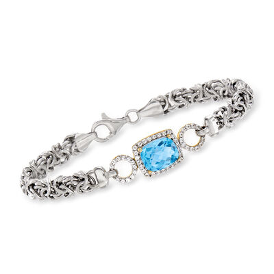 4.30 ct. t.w. Swiss Blue and White Topaz Byzantine Bracelet in Two-Tone Sterling Silver